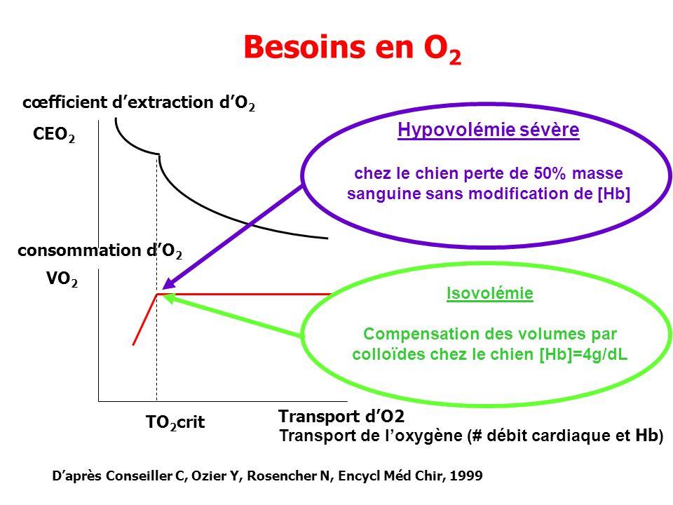 Besoins en O2 Hypovolémie sévère cœfficient d'extraction d'O2 CEO2