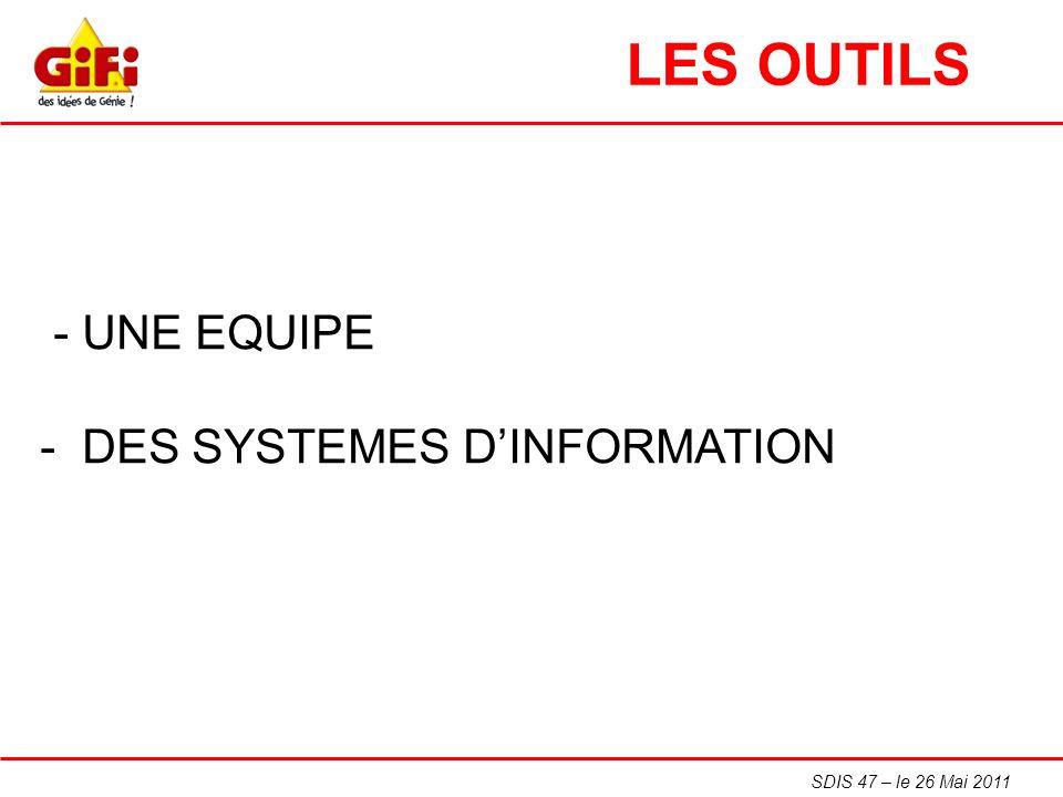LES OUTILS - UNE EQUIPE - DES SYSTEMES D'INFORMATION