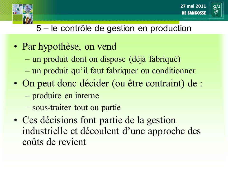 5 – le contrôle de gestion en production
