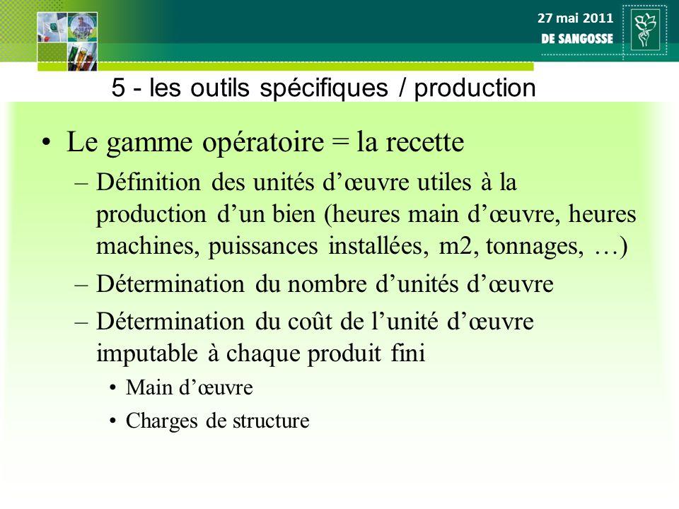 5 - les outils spécifiques / production