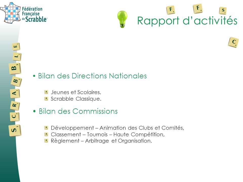 Rapport d'activités Bilan des Commissions