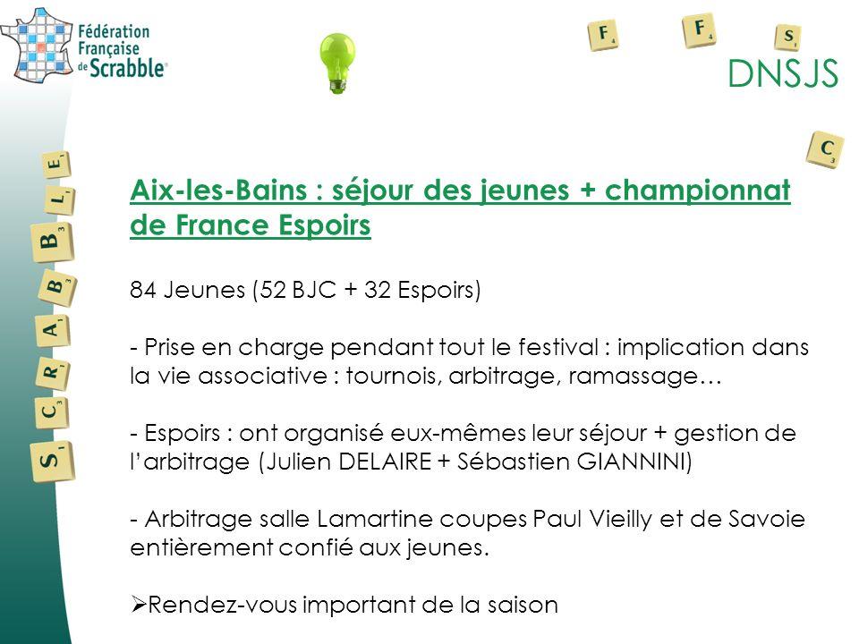 DNSJSAix-les-Bains : séjour des jeunes + championnat de France Espoirs. 84 Jeunes (52 BJC + 32 Espoirs)