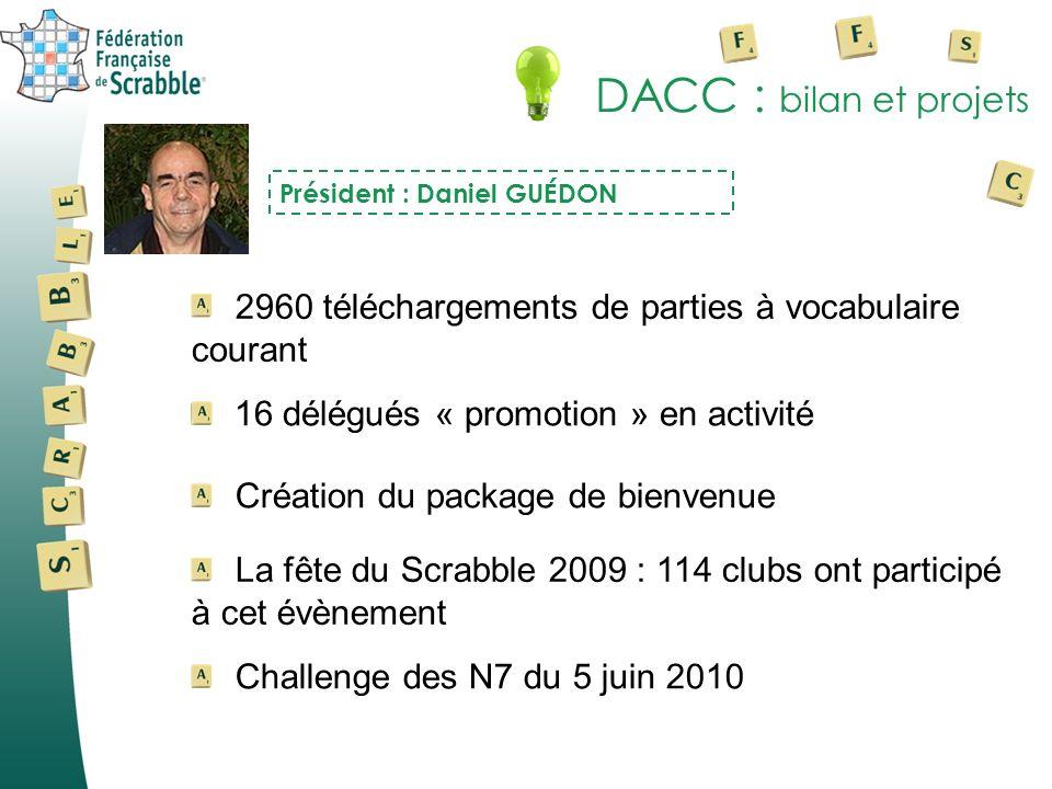 DACC : bilan et projetsPrésident : Daniel GUÉDON. 2960 téléchargements de parties à vocabulaire courant.