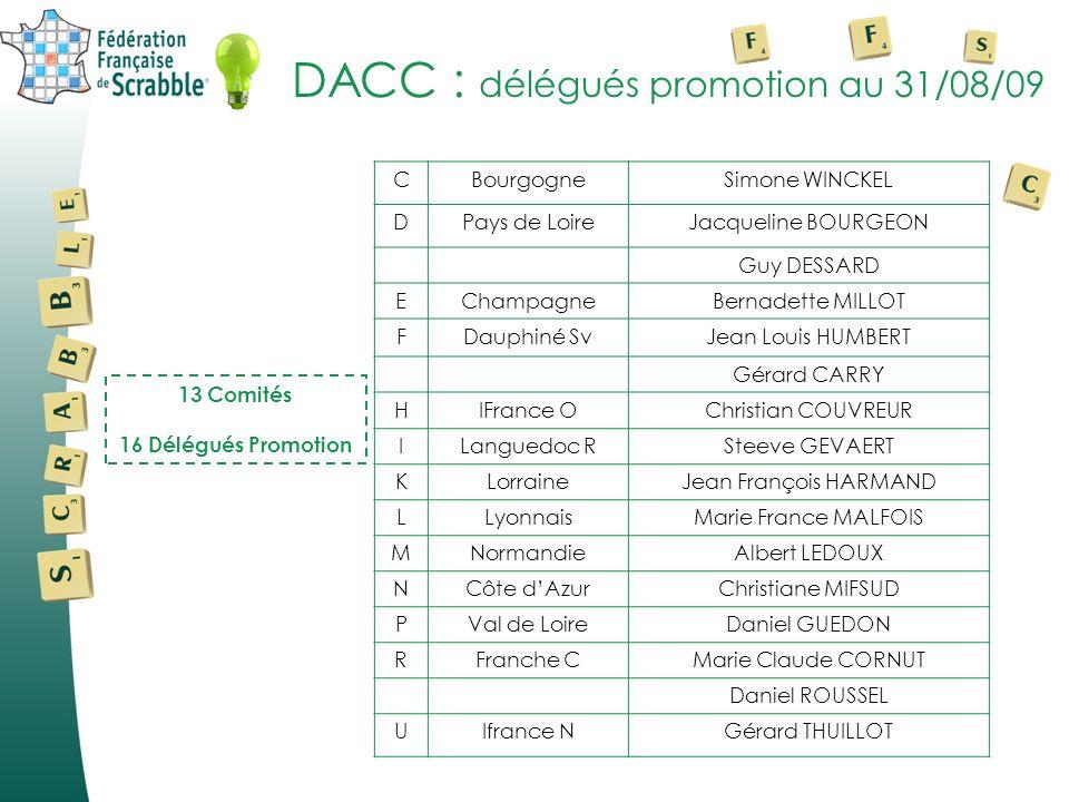 DACC : délégués promotion au 31/08/09