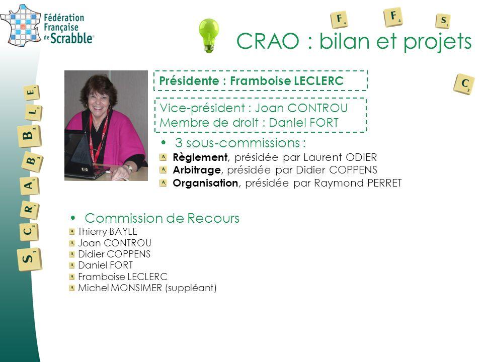 CRAO : bilan et projets 3 sous-commissions : Commission de Recours