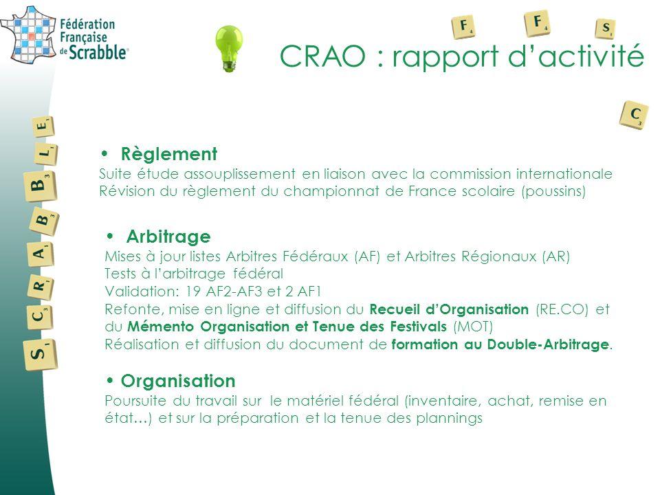 CRAO : rapport d'activité
