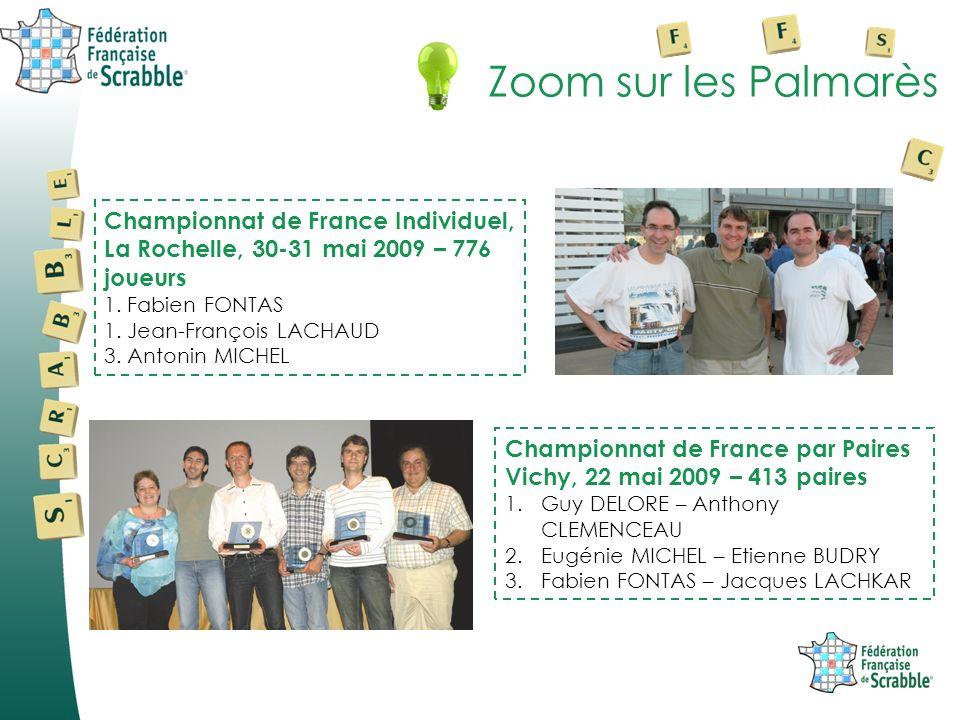 Zoom sur les PalmarèsChampionnat de France Individuel, La Rochelle, 30-31 mai 2009 – 776 joueurs. 1. Fabien FONTAS.