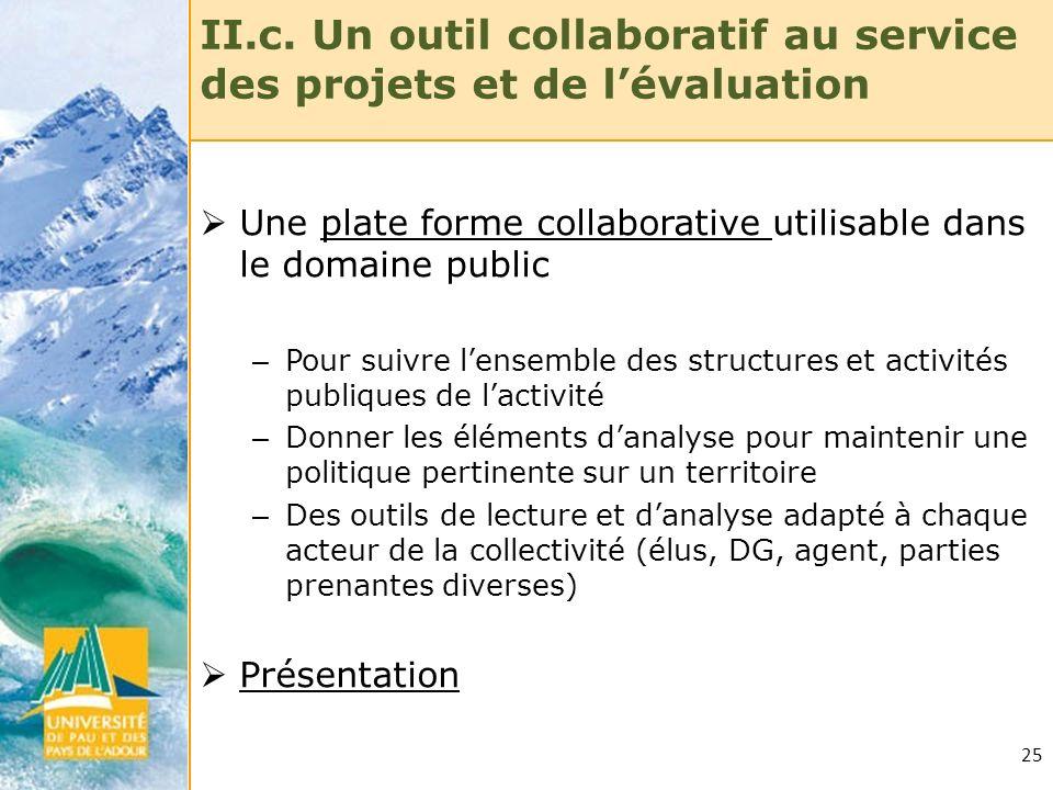 II.c. Un outil collaboratif au service des projets et de l'évaluation
