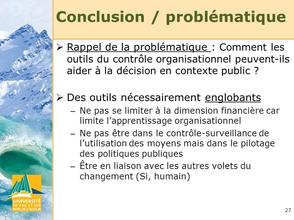 Conclusion / problématique
