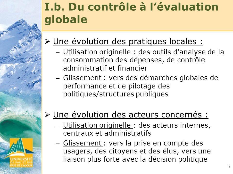I.b. Du contrôle à l'évaluation globale