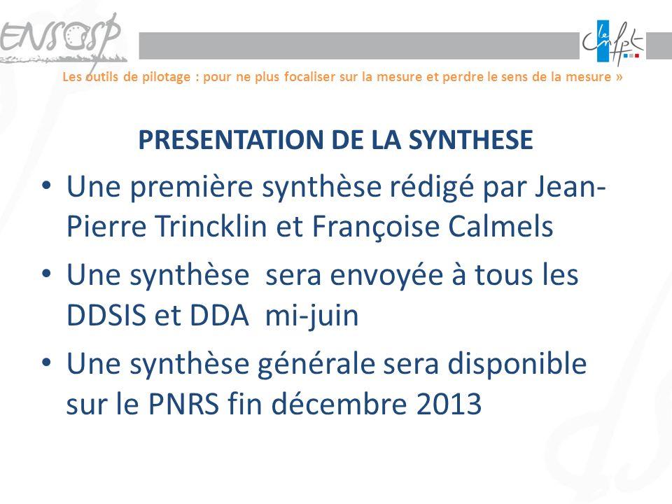 PRESENTATION DE LA SYNTHESE
