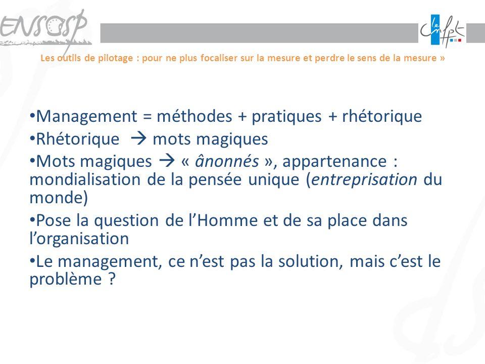 Management = méthodes + pratiques + rhétorique