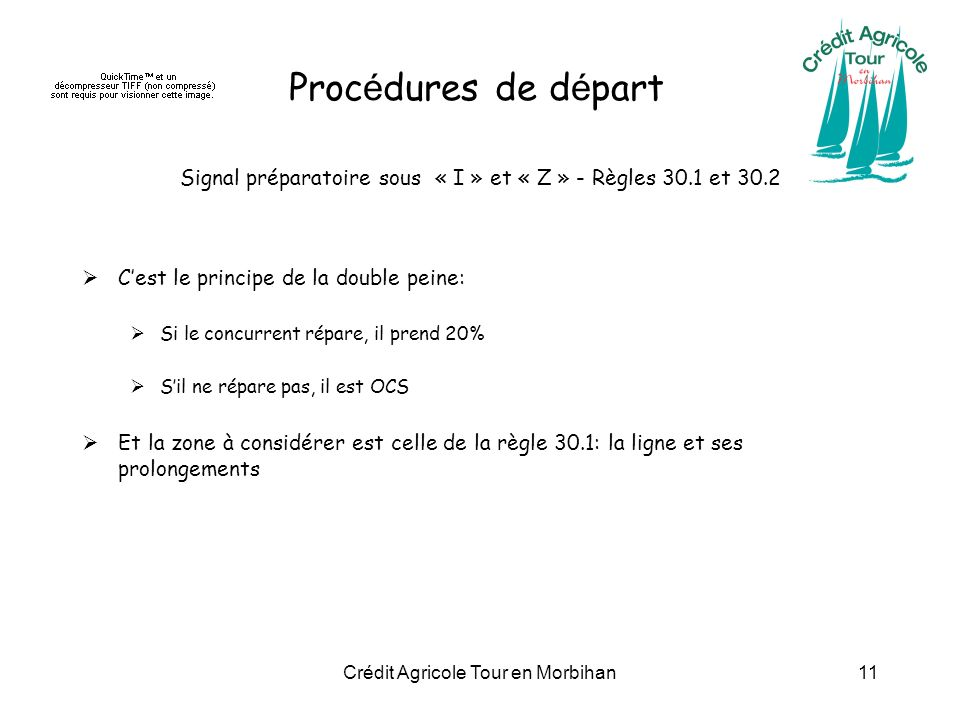 Procédures de départ Signal préparatoire sous « I » et « Z » - Règles 30.1 et 30.2. C'est le principe de la double peine: