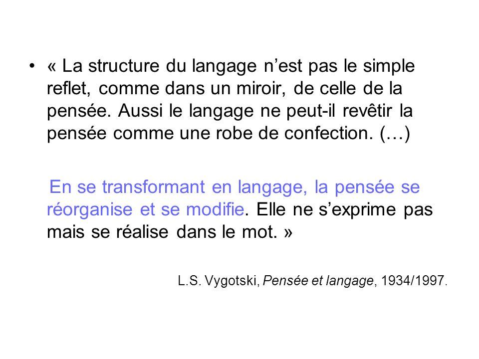 « La structure du langage n'est pas le simple reflet, comme dans un miroir, de celle de la pensée. Aussi le langage ne peut-il revêtir la pensée comme une robe de confection. (…)