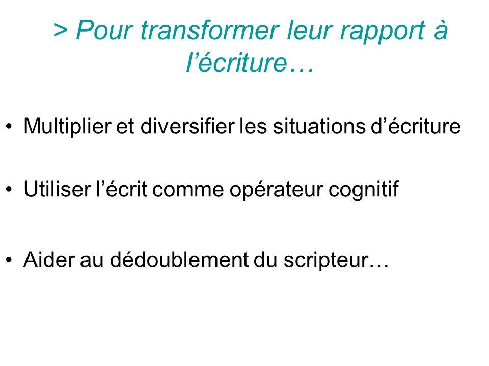 > Pour transformer leur rapport à l'écriture…