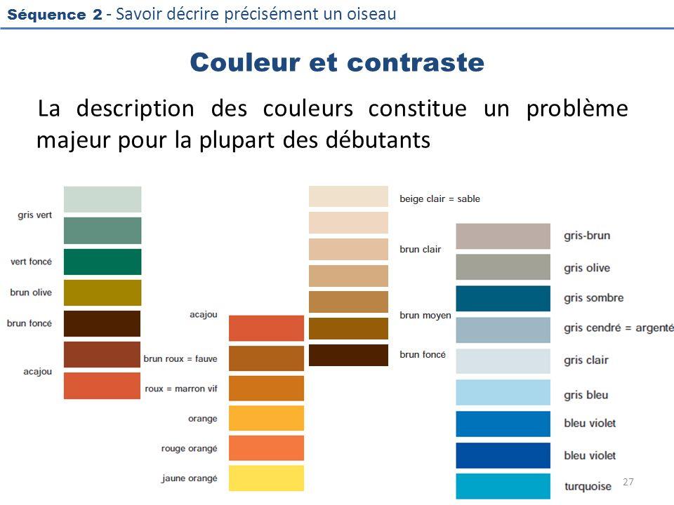 Couleur et contraste La description des couleurs constitue un problème majeur pour la plupart des débutants.