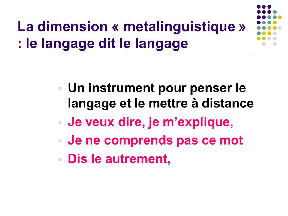 La dimension « metalinguistique » : le langage dit le langage