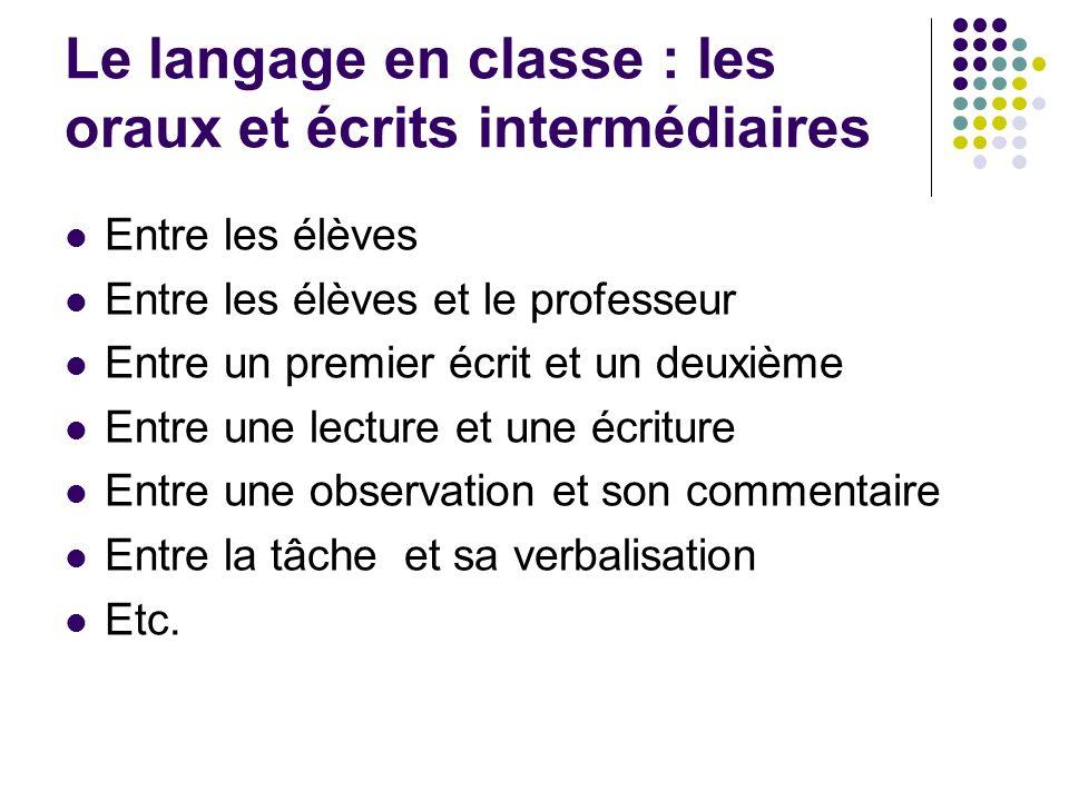 Le langage en classe : les oraux et écrits intermédiaires