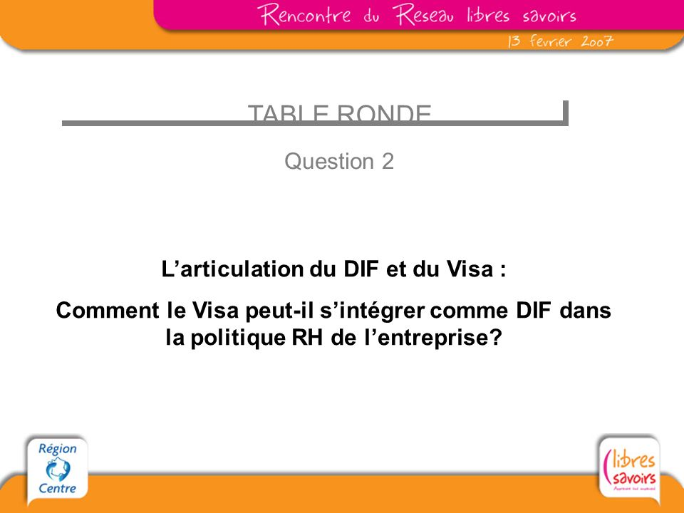 L'articulation du DIF et du Visa :