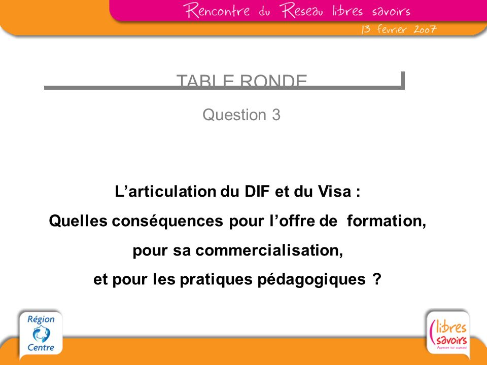 TABLE RONDE Question 3 L'articulation du DIF et du Visa :