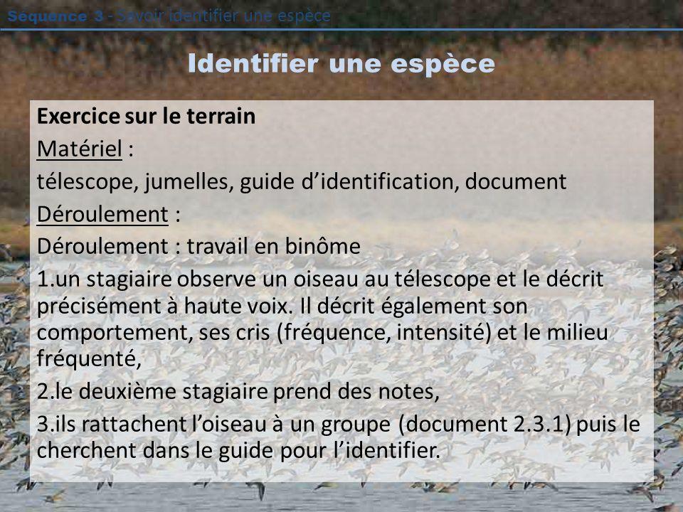 Identifier une espèce Exercice sur le terrain Matériel :