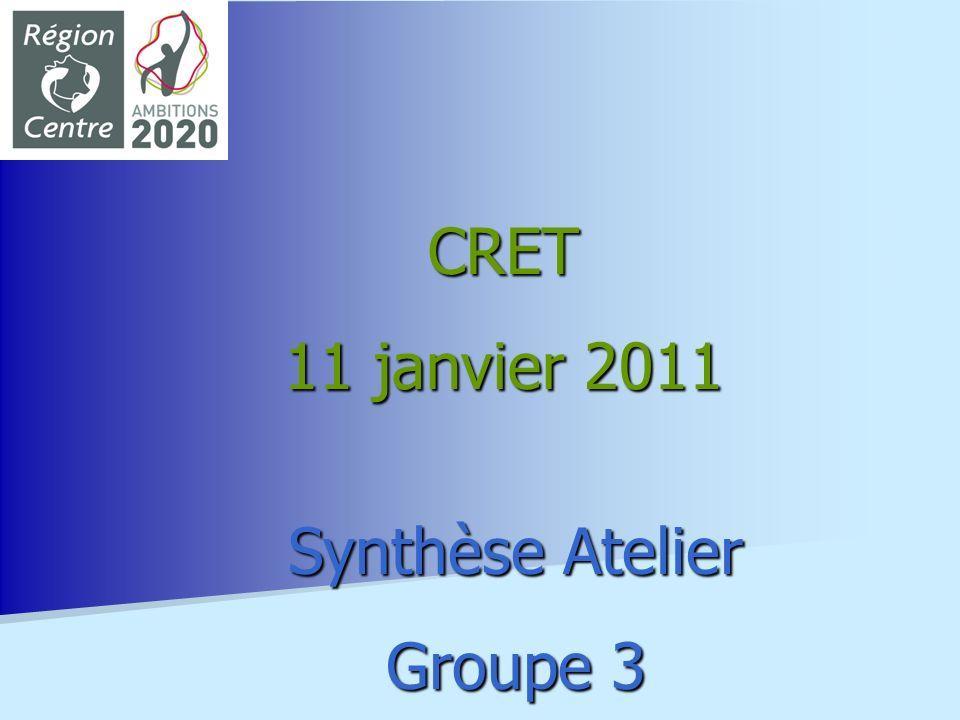 CRET 11 janvier 2011 Synthèse Atelier Groupe 3