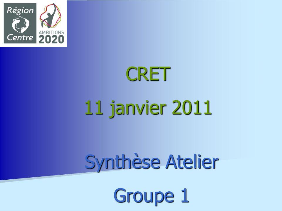 CRET 11 janvier 2011 Synthèse Atelier Groupe 1