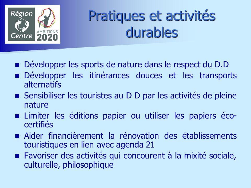 Pratiques et activités durables
