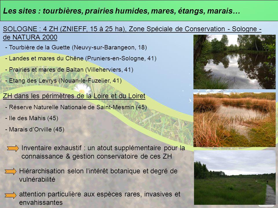 Les sites : tourbières, prairies humides, mares, étangs, marais…