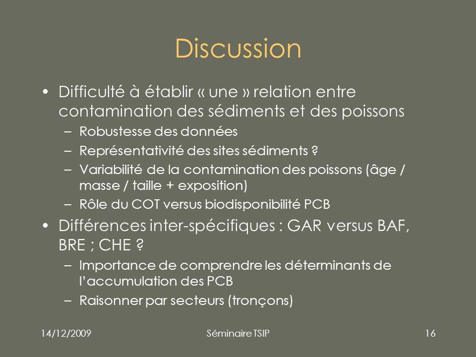 Discussion Difficulté à établir « une » relation entre contamination des sédiments et des poissons.