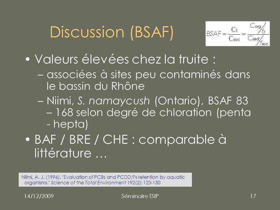 Discussion (BSAF) Valeurs élevées chez la truite :