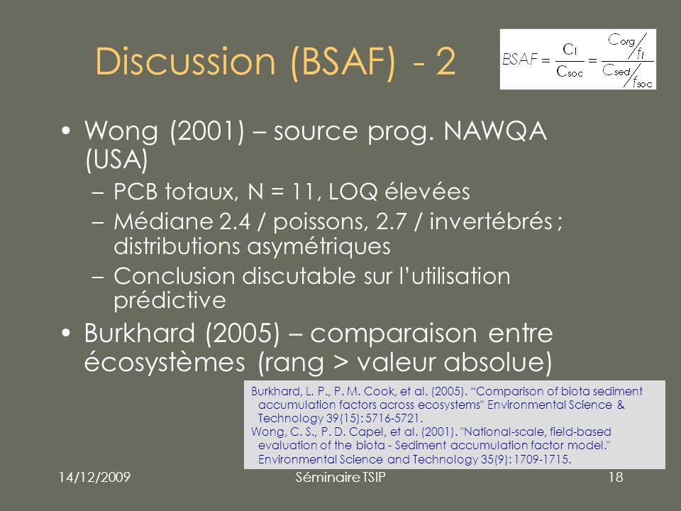 Discussion (BSAF) - 2 Wong (2001) – source prog. NAWQA (USA)