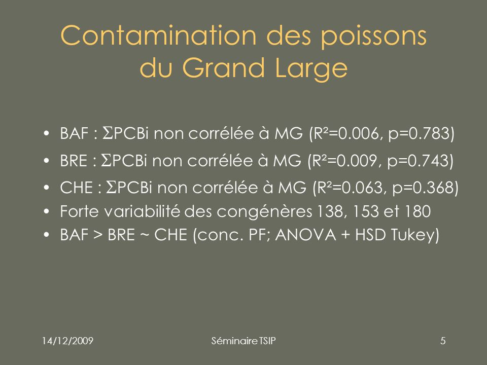 Contamination des poissons du Grand Large