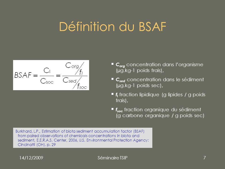 Définition du BSAF Corg concentration dans l'organisme (µg.kg-1 poids frais), Csed concentration dans le sédiment (µg.kg-1 poids sec),