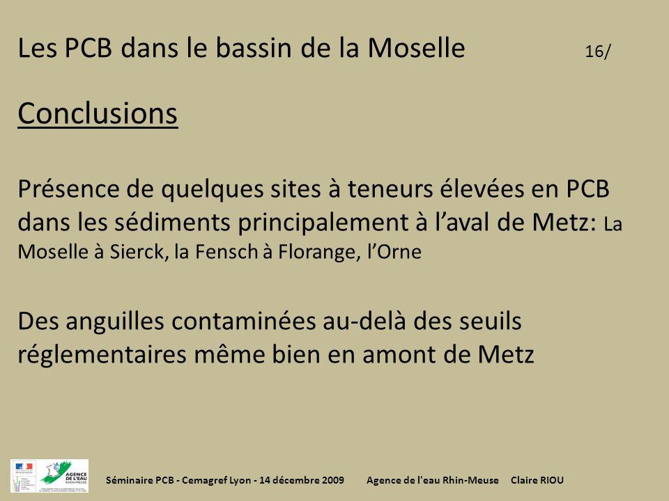 Les PCB dans le bassin de la Moselle 16/