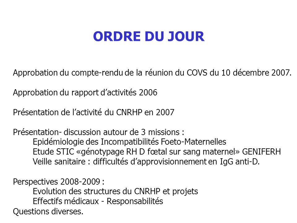 ORDRE DU JOUR - Approbation du compte-rendu de la réunion du COVS du 10 décembre 2007. - Approbation du rapport d'activités 2006.