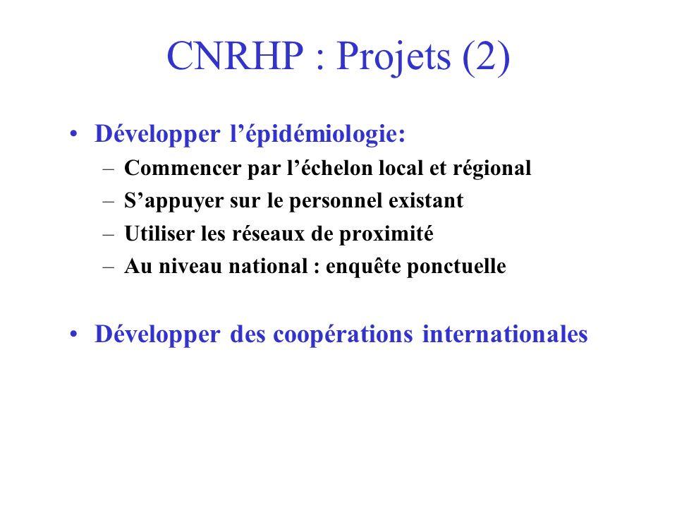 CNRHP : Projets (2) Développer l'épidémiologie:
