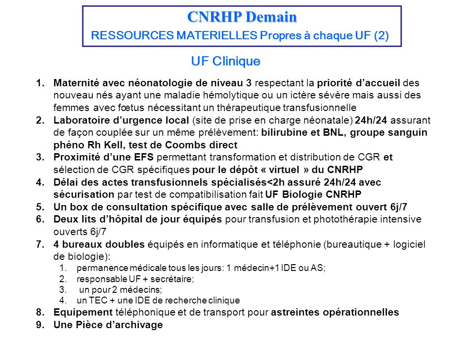 CNRHP Demain UF Clinique