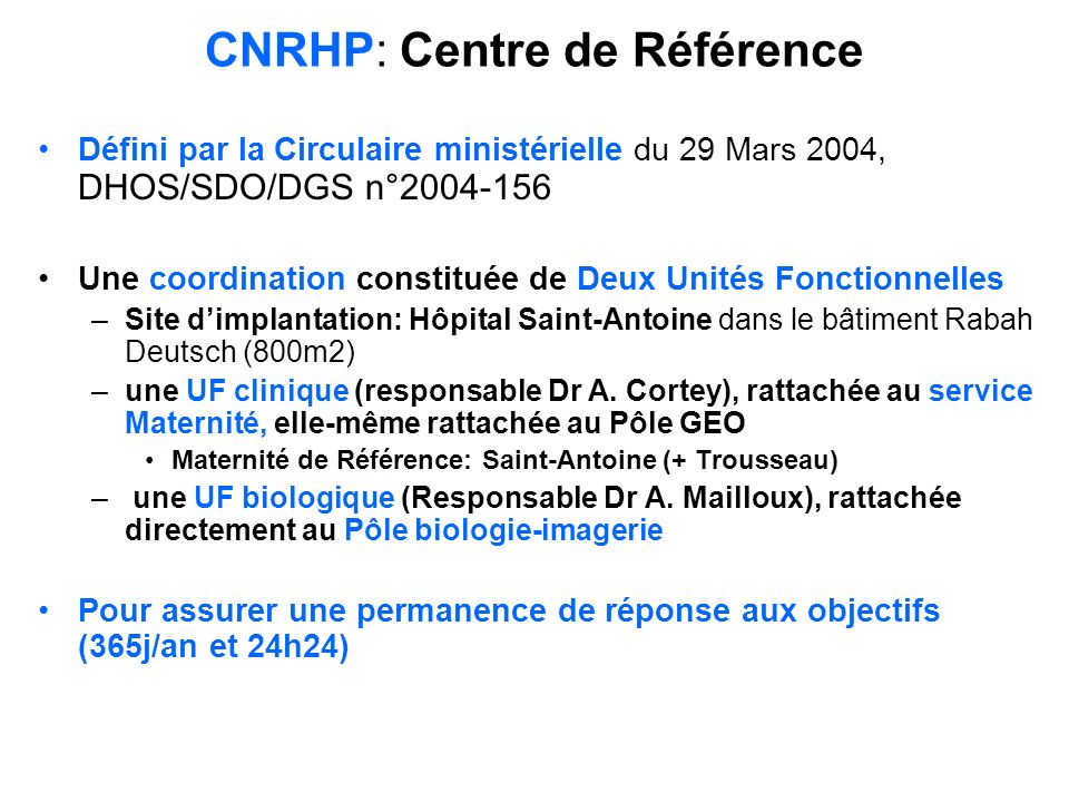 CNRHP: Centre de Référence
