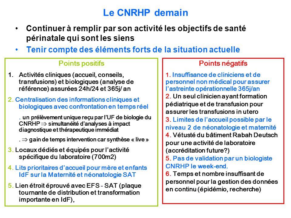 Le CNRHP demain Continuer à remplir par son activité les objectifs de santé périnatale qui sont les siens.