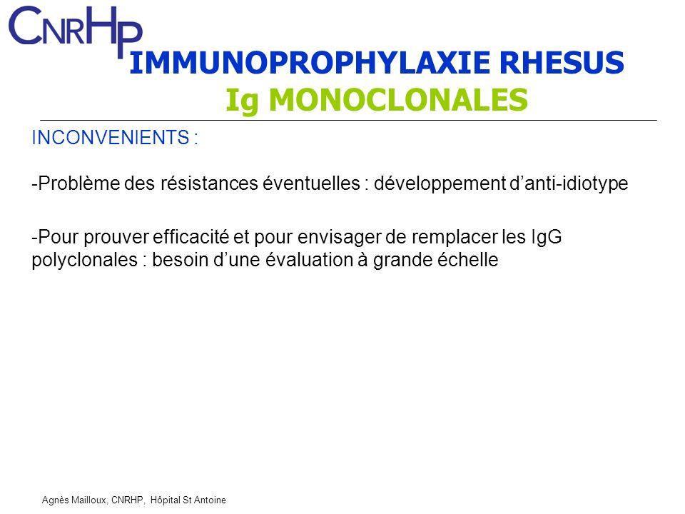 IMMUNOPROPHYLAXIE RHESUS Ig MONOCLONALES
