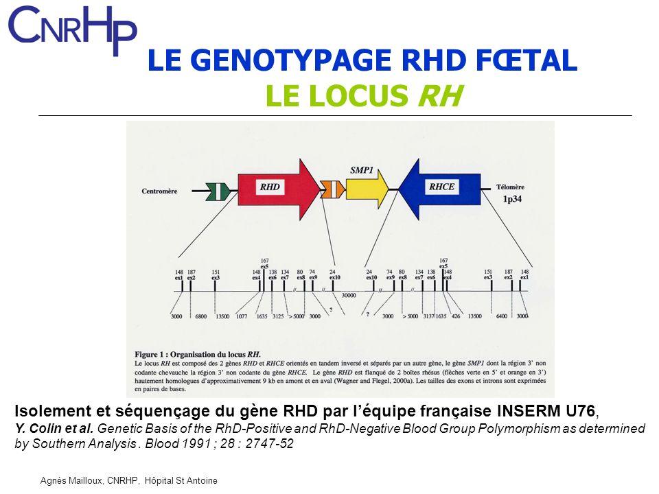 LE GENOTYPAGE RHD FŒTAL LE LOCUS RH