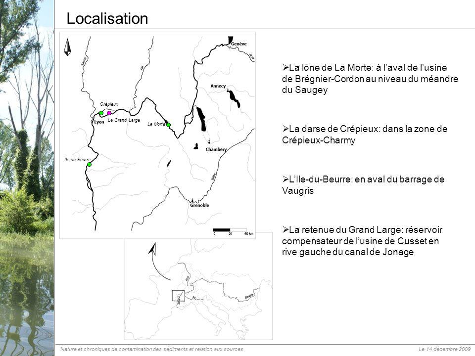 Localisation La Morte. La lône de La Morte: à l'aval de l'usine de Brégnier-Cordon au niveau du méandre du Saugey.