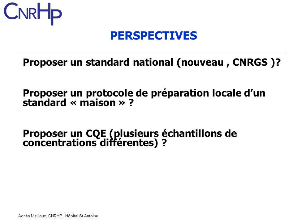 PERSPECTIVES Proposer un standard national (nouveau , CNRGS )