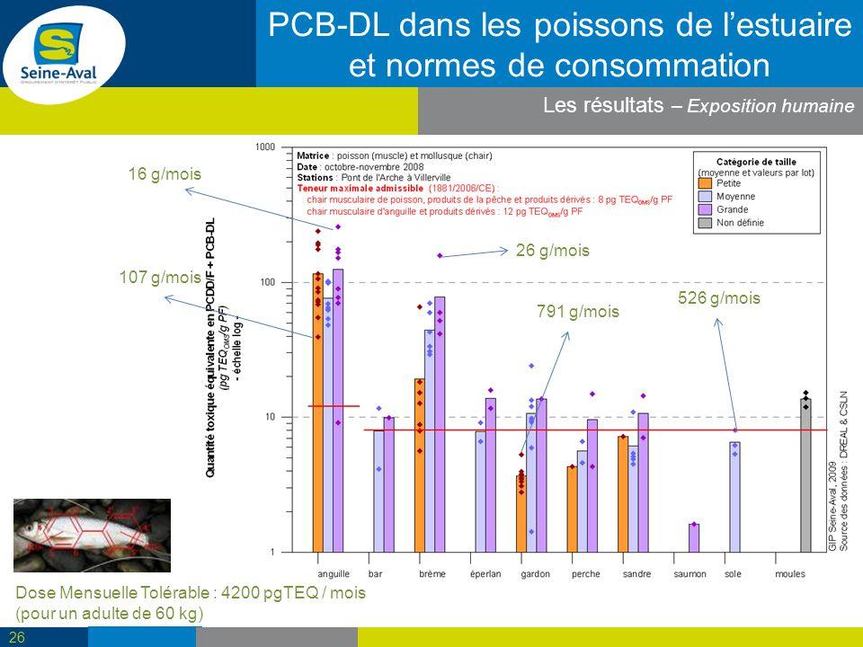 PCB-DL dans les poissons de l'estuaire et normes de consommation