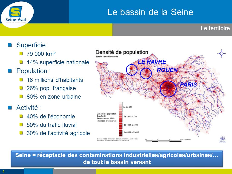 Le bassin de la Seine Superficie : Population : Activité :