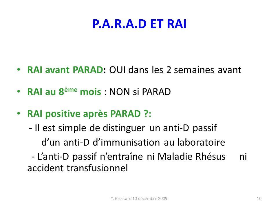 P.A.R.A.D ET RAI RAI avant PARAD: OUI dans les 2 semaines avant