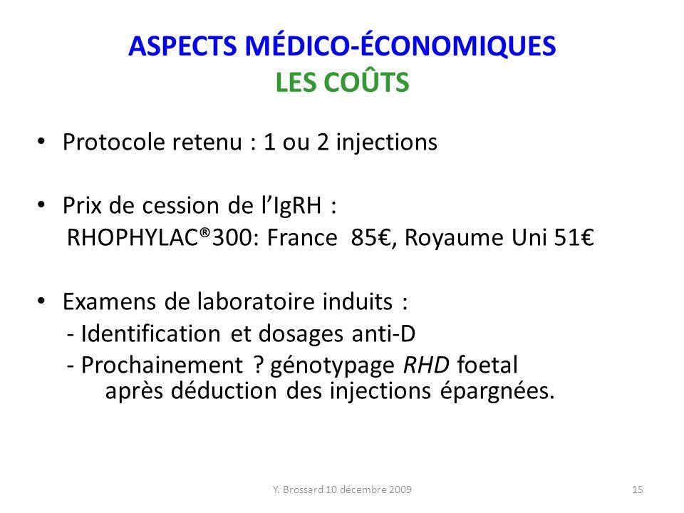 ASPECTS MÉDICO-ÉCONOMIQUES LES COÛTS