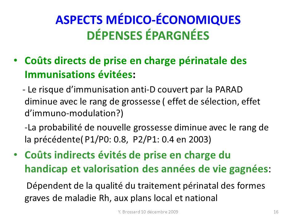 ASPECTS MÉDICO-ÉCONOMIQUES DÉPENSES ÉPARGNÉES