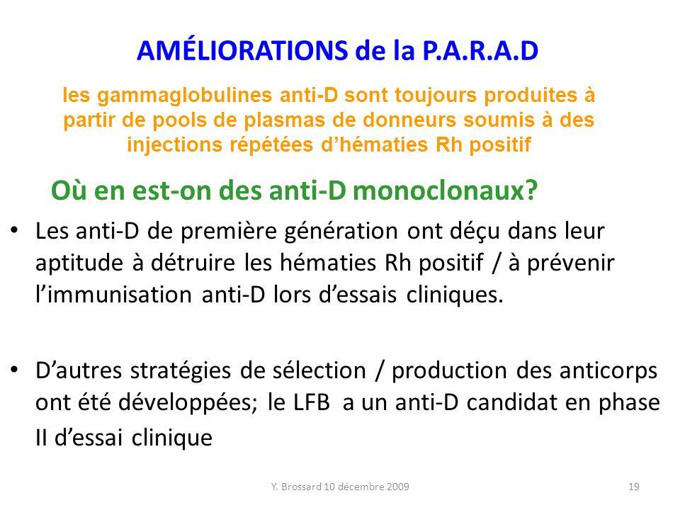 AMÉLIORATIONS de la P.A.R.A.D